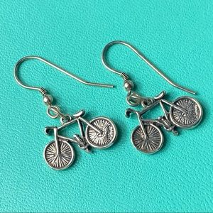Sterling Silver Bicycle Dangle Earrings unique fun